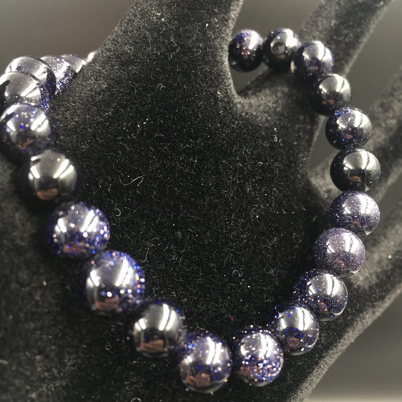 bracelet perles de 8mm en pierre soleil blue star de synth se coeur de pierres. Black Bedroom Furniture Sets. Home Design Ideas